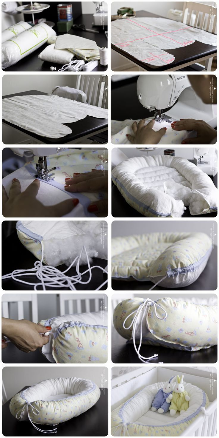 Description on how to make your own babynest. Great for a very young baby, those first months when even a crib is too big. And I could not resist those soft furry rabbit dolls