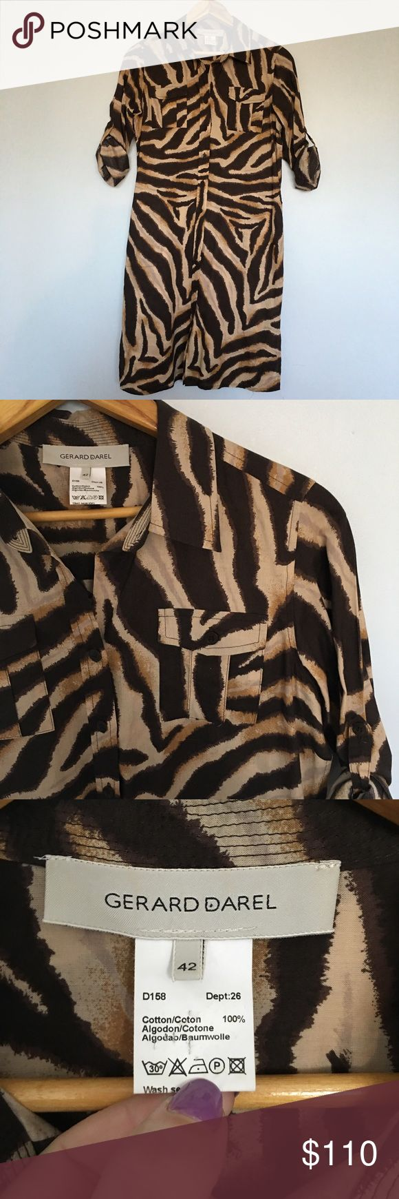 UK Designer Brand Geeard  Darel Tiger Print Dress Safari style dress. Dress is cotton but very light almost sheer. Absolute perfect condition. The equivalent for 42 according to website is a US 10. Measurements are chest 38 waist 38 and length 34. Gerard Darel Dresses Midi