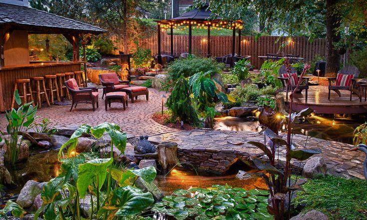 Tropical paradise backyard google search tiki pirate for Garden pond design books