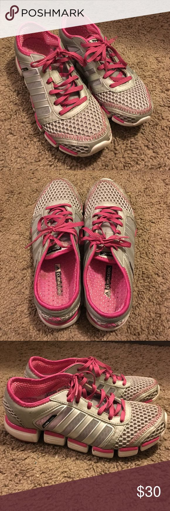 Adjdas ClimaCool Sneakers Pink and silver lightweight Adidas ClimaCool sneakers. Minimal wear, still in great condition. Size 6, great for working out or casual wear due to their awesome breathability! Offers welcome Adidas Shoes Sneakers