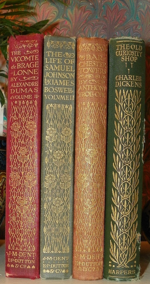 """J.M. Dent editions, E.P Dutton, one Harpers."" I would so love to own these, they are so beautiful"