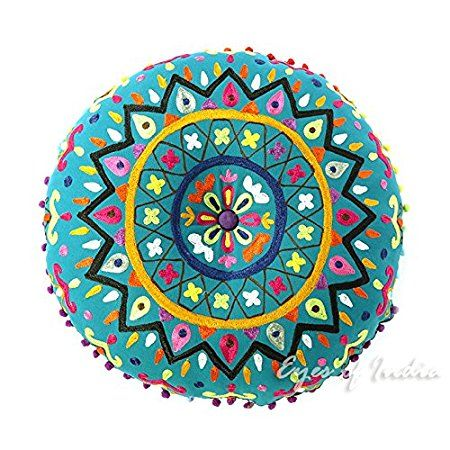 "EYES OF INDIA - 24"" Teal Blue Green Round Decorative Floor Cushion Seating Pillow Throw Cover Bohemian Boho Indian"