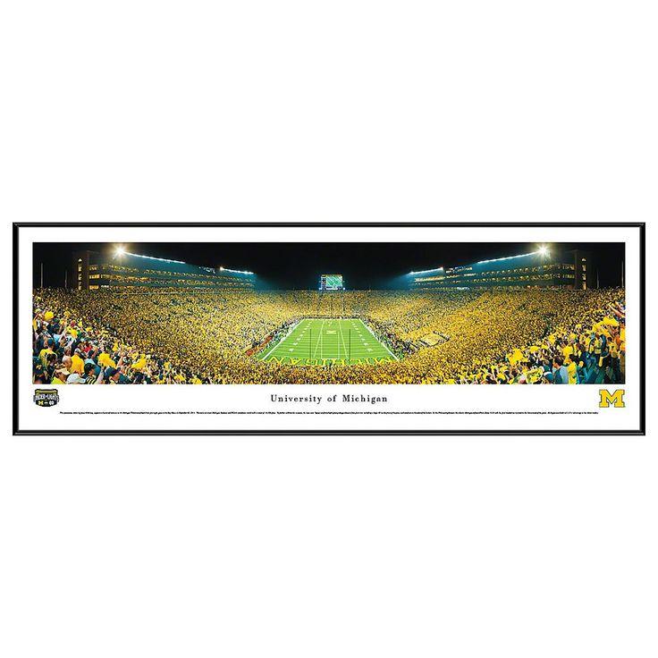 Michigan Wolverines Football Stadium End Zone Framed Wall Art, Multicolor