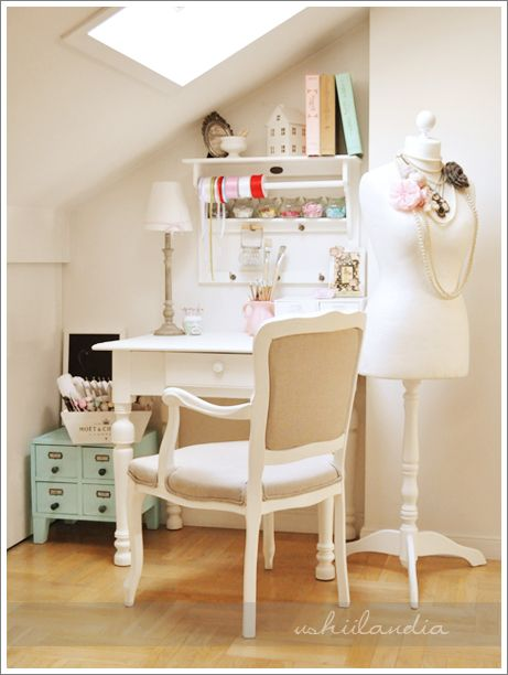 A beautiful craft corner... almost looks too perfect to use!