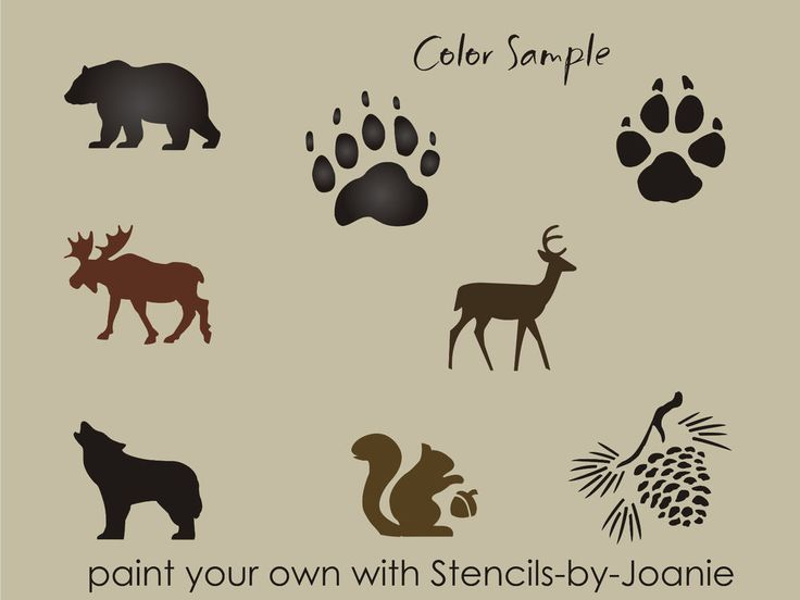 Rustic Animal STENCIL Bear Wolf Deer Moose Track Hunt Pinecone Art Cabin Signs  #DesignsbyJoanie