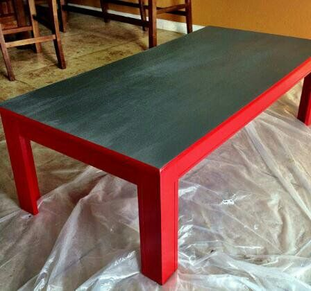 Up-cycled chalkboard table.