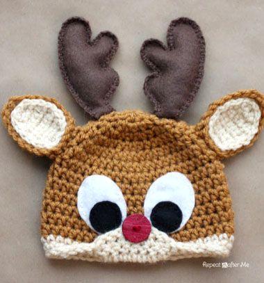 Crochet Rudolph the reindeer / Horgolt rénszarvas Rudolfos sapka / Mindy