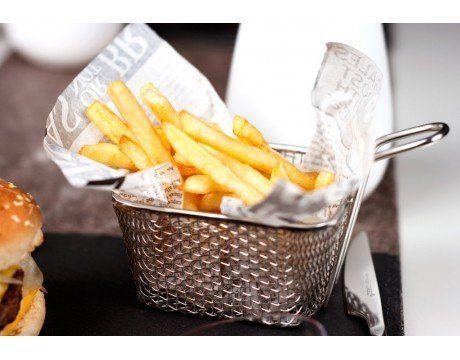 Mini panier à frites de table individuel en inox Présentez joliment vos frites à vos invités, dans ces mini paniers à frites originaux.