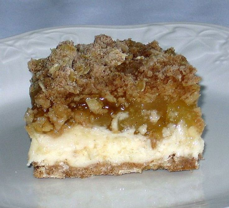 Apple Cheesecake Made with Farmer's Cheese and Crumbly Top