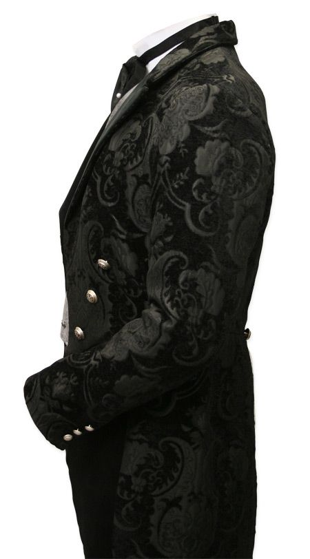 Velvet Trimmed Regency Tailcoat - Black