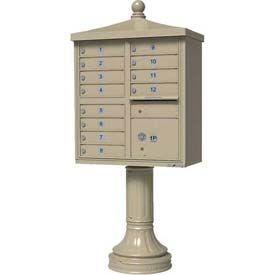 $1450 Global Industries: Vital Cluster Box Unit w/Vogue Traditional Accessories, 12 Unit & 1 Parcel Locker, Sandstone