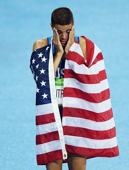 Matthew Centrowitz of the United States reacts after winning gold in the Men's…