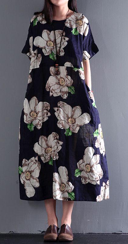2017 summer floral dresses vintage fine linen maxi dress plus size sundress