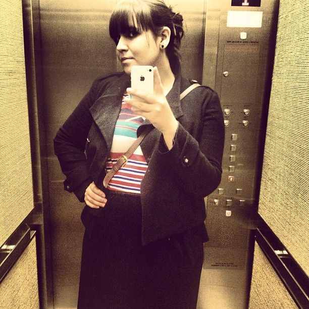 #Striped baseball-inspired tee from Urban Outfitters and old school Old Navy #velvet skirt w/ #lace trim