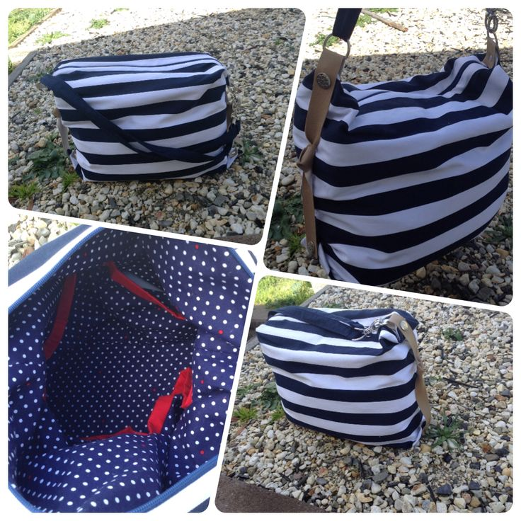 Nautical Love. $50. Features 5 internal pockets, zippered top & multi length shoulder strap.