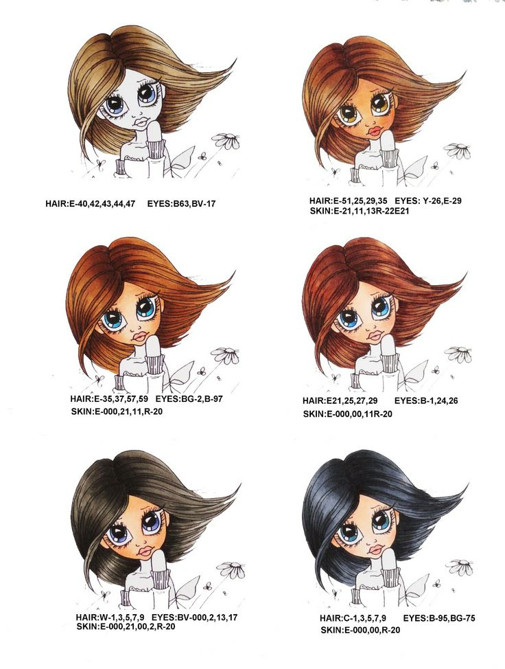 Sandi's Samples: Here are a few of the Copic marker hair and skin colors