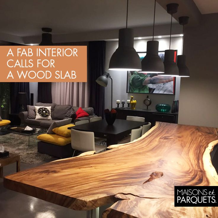 This unique piece of art is a distinctive wood slab in a happy home, signed by Maisons et Parquets