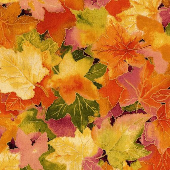 Fall Foliage Autumn Carpet Packed Leaves 100/% cotton Fabric By the yard