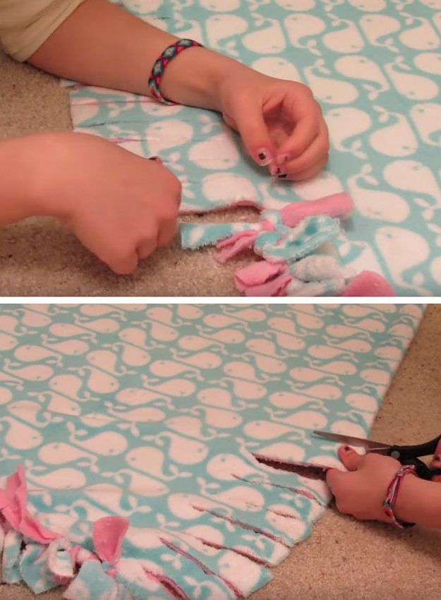How to Make a Tie Blanket | No Sew Fleece Tutorial by DIY Ready at http://diyready.com/how-to-make-a-tie-blanket/