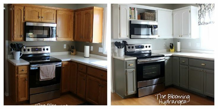 From Oak to Awesome Painted Gray and White Kitchen cabinets