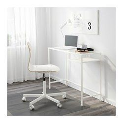 IKEA - VITTSJÖ, Laptop table, white/glass, , Table with work surface and storage inside for a laptop turns any small space into a functional work space.Made of tempered glass and steel, durable materials that give an open, airy feel.Self-adhesive cable clips keep your cords in place and out of sight.Adjustable feet allow you to level the table on uneven floors.