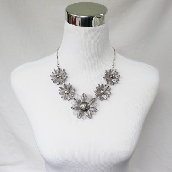 Silver Statement Necklace Gray Statement by PetalPerceptions