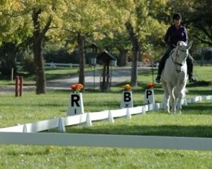 Sundance dressage arena with Berkshire letters. Stackable letters with flower pots molded into the tops.