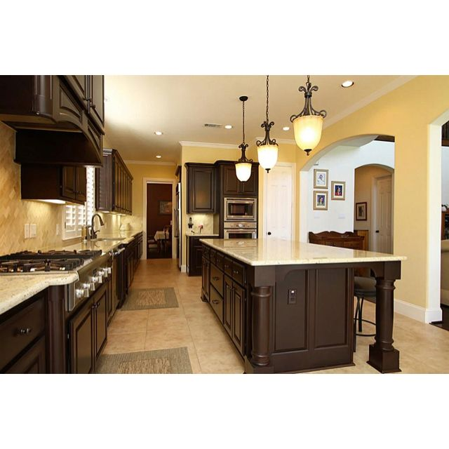 Yellow kitchen walls with dark cabinets for Dark orange kitchen