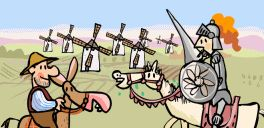 Excellent short cartoon play about Don Quixote de La Mancha y Sancho Panza.