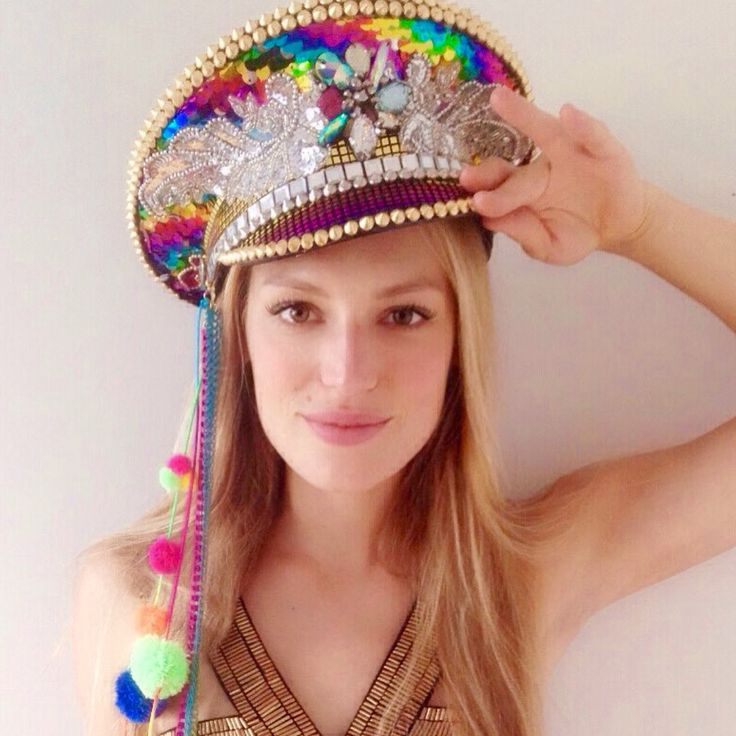 Redecorated military hats for festivals & burning man!