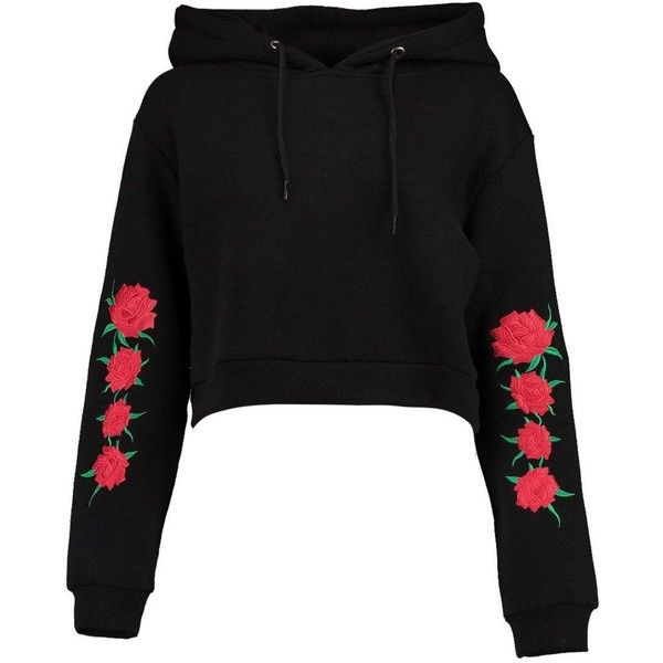 Boohoo Helen Embroidered Sleeve Hoody (44 BRL) ❤ liked on Polyvore featuring tops, hoodies, sweaters, shirts, bralet crop top, crop tops, off the shoulder crop top, shirt hoodies and crop shirt