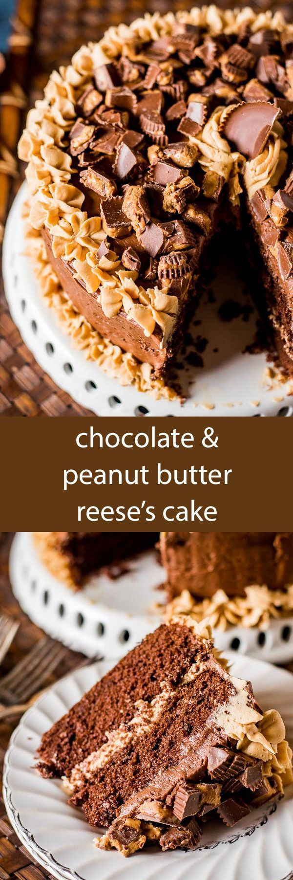Chocolate Peanut Butter Reese's Cake is a moist, from scratch chocolate cake with peanut butter frosting and chocolate buttercream frosting! Perfect for the Reese's peanut butter cup lover in your lif
