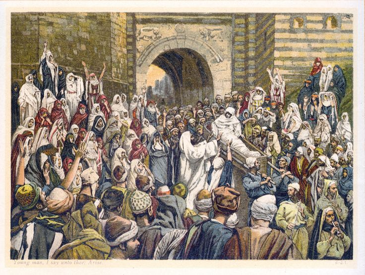 "Luke 7:11-17 ""Young man, I say to thee arise"" by James Tissot. Tone adjusted using Photoshop"