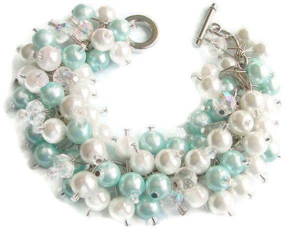 Tiffany Blue Pearl Cluster Bracelet   www.etsy.com/listing/128649093/tiffany-blue-pearl-cluster-bracelet-aqua