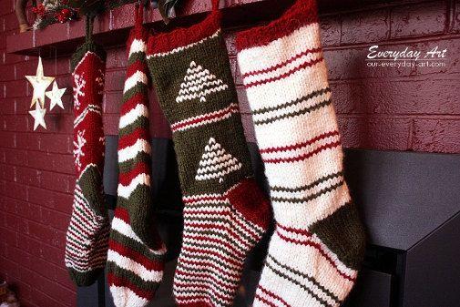 Knit Christmas Stocking Pattern by oureverydayart on Etsy