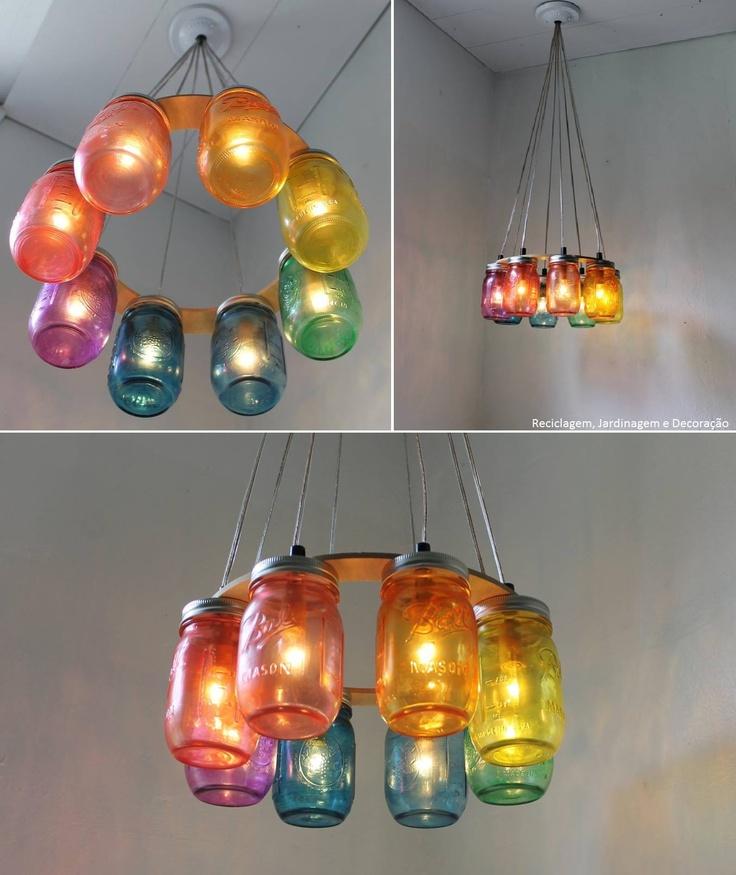 lampara con frascos..colorido..!