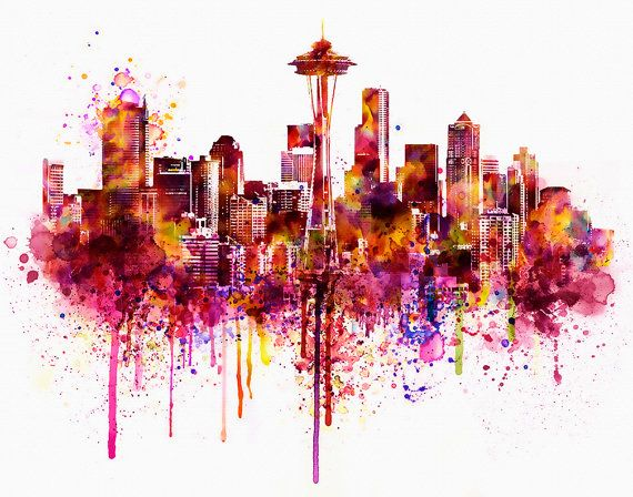 Seattle Skyline watercolor painting for instant by Artsyndrome
