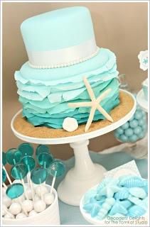 blue wave wedding cake