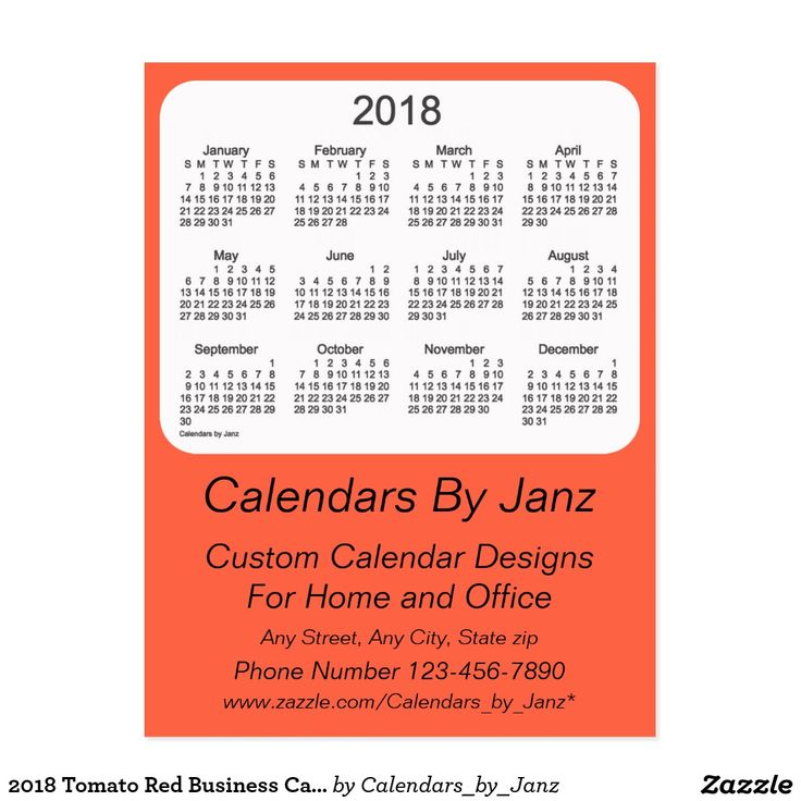 2018 Tomato Red Business Calendar by Janz Postcard
