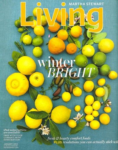 Martha Stewart Living Magazine, January 2013 (recipe index)