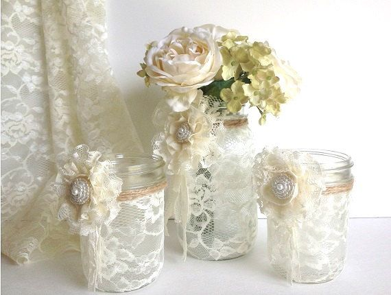 3 piece lace covered mason jars with adorable lace flowers 1 vase and 2 candle holder, wedding decor gift or for you NEW