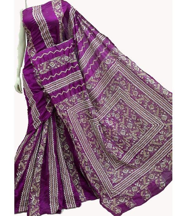 Purple Hand Embroidered Kantha Work Silk Saree