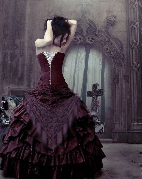 Gorgeous purple dress in Gothic art!
