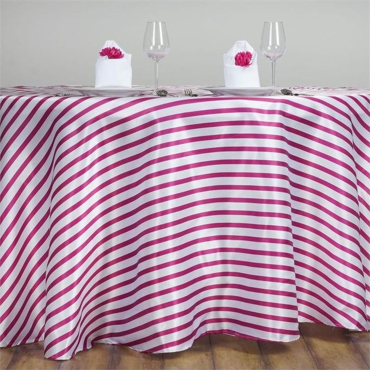 """120"""" Stripe Wholesale SATIN Banquet Linen Wedding Party Restaurant Tablecloth - White/Fushia /  The fascination for stripes has never faded in the course of history; in fact it has embraced the contemporary trends of fashion industry. The width of line can be minimized or maximized according to the taste of the customer as well as the demand of the product. Well! We love them wide, and we love them thin. So, why settle for plain when you can stand out with the amazing stripy pattern? To make…"""