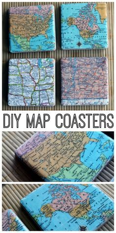 DIY map coasters - make your own coasters for a great gift idea! Choose any maps that you want!  Apply a layer of modge podge to the back of the picture and allow to dry. To eliminate wrinkles.