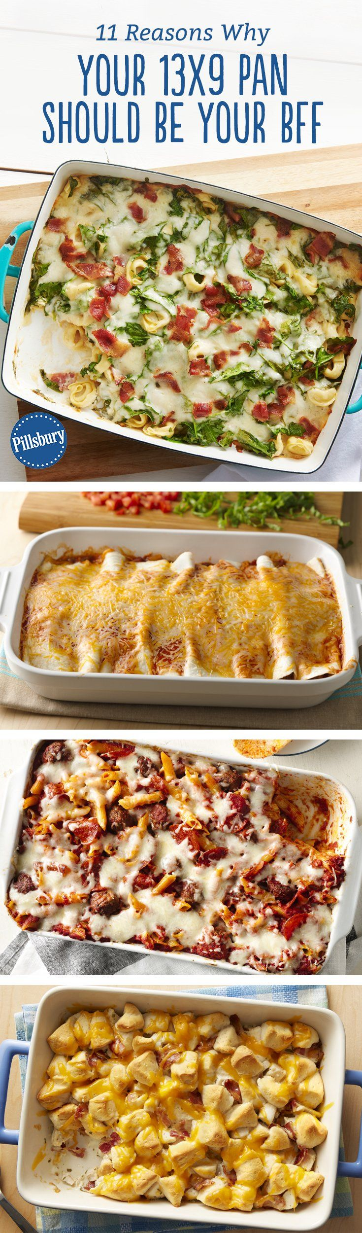Is there anything your 13x9 can't do? These ridiculously easy dinners say no. From a tortellini casserole based on one of our favorite dips to creamy enchiladas that are the perfect twist on taco night, these are all made in a 13x9 for easy prep and a family-sized meals.