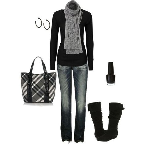 black and grey. Love this!!!: Falloutfit, Casual Outfit, Fall Wins, Black Outfit, Winter Outfit, Fall Outfit, Scarfs, Bags, Boots