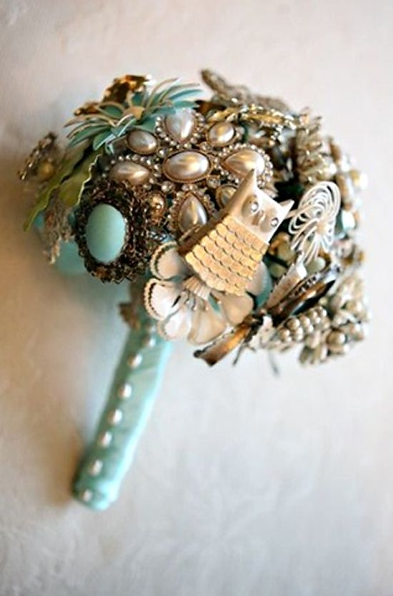 A brooch boquet with brooches belonging to my grandmothers and great-grandmothers. To keep my most important ladies close to my heart.
