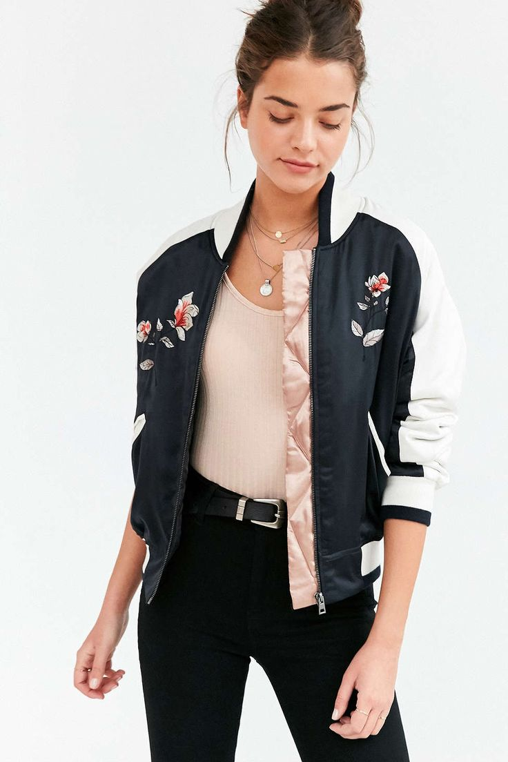 ↠ ᴘɪɴ: coeurdepasteque ↞ Silence + Noise Stays On Tour Satin Bomber Jacket #UrbanOutfitters