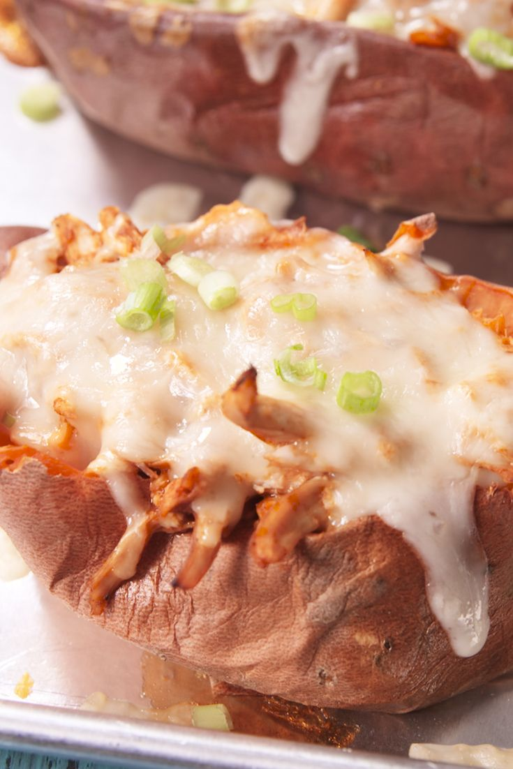These twice-baked potatoes are loaded with the makings of a full chicken dinner.